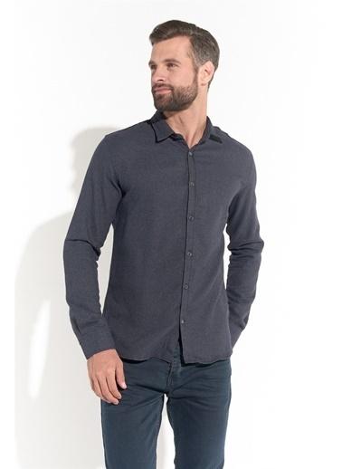 Z Giyim Slimfıt Petek Desenli Gömlek Antrasit